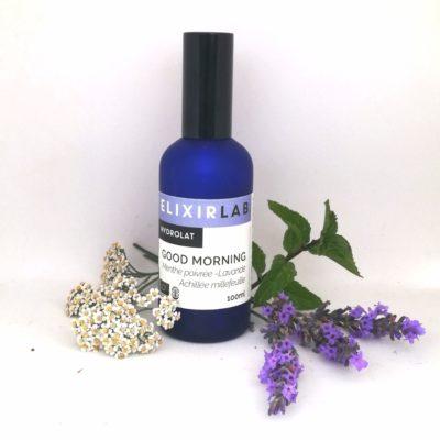 hydrolat Good morning ElixirLab mélange d'hydrolats de menthe poivrée, achillée millefeuille et lavande officinale