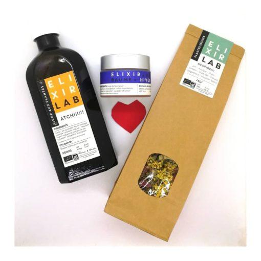 Réconfort kit ElixirLab : sirop Atchii, baume d'hiver, tisane Respire !
