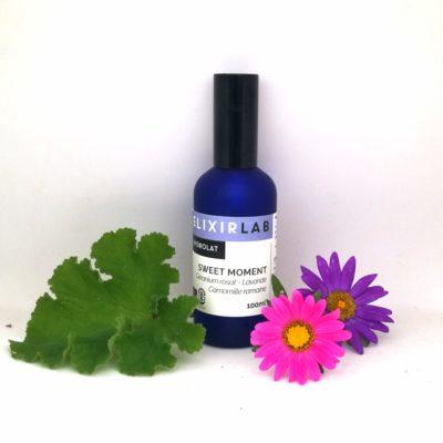 hydrolat sweet moment ElixirLab, mélange d'hydrolats de géranium rosat, de camomille romaine et de lavande officinale
